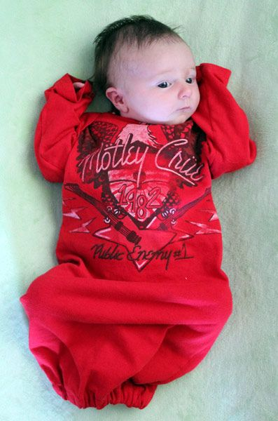 Newborn Gown tutorial - made from tee shirt - free pattern, instructions, and tutorial.  DON'T LIKE THE FRONT DESIGN HERE THOUGH!!!!