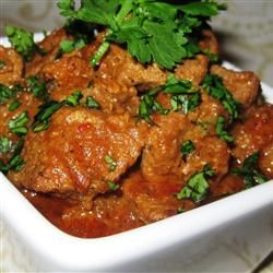 Beef Vindaloo Recipe - This is very tasty!  A little tangy, very interesting flavors.  Start out with less cayenne and salt in the marinade -  you can always add more.  I didn't add any water at the end since there were plenty of pan juices.