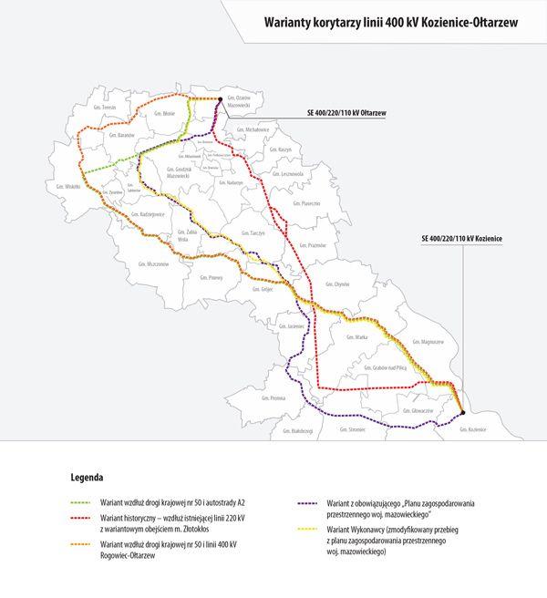 Warianty korytarzy linii 400 kV Kozienice-Ołtarzew