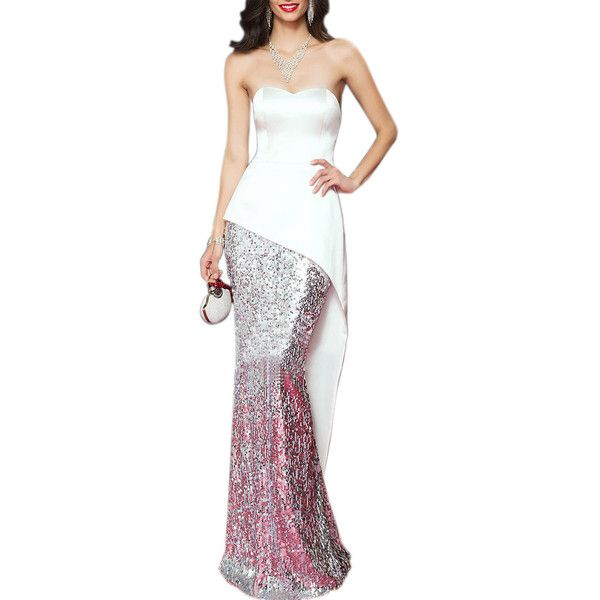 Round Neck Sequin Backless Maxi Dress ($43) ❤ liked on Polyvore featuring dresses, gowns, white gown, sequin evening gowns, backless gown, maxi dress and backless maxi dress