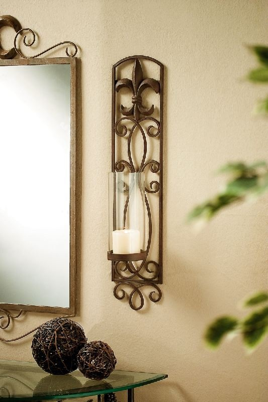 (like) French Country Fleur De Lis Wall Sconce Candle Holder Home Accessories - Lighting ...