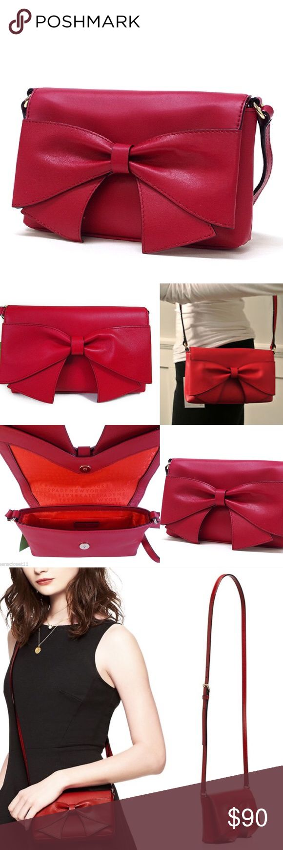 """Kate Spade red Aster cross body handbag Kate Spade """"Dynastyred"""" Aster crossbody handbag. NWT and gift box. Was given to me as a gift and it's too small for me (I carry large bags). Brand new - last photo shows bag in original protective packaging.  4.5""""x7.4"""".  Total strap length 45.7"""". Smooth cowhide leather. Capital Kate jacquard lining. 14 karat light gold plated hardware. Adjustable strap and snap closure. Interior slide pocket. Exterior bow detail. Imported. Great bag!! kate spade Bags…"""