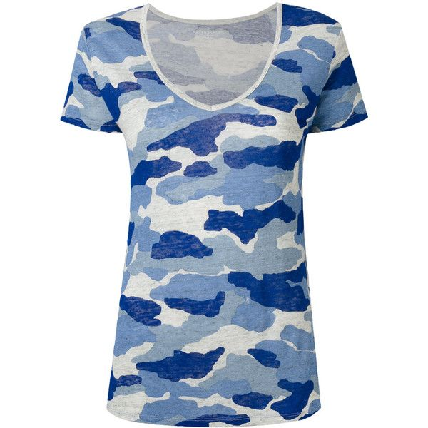 Majestic Filatures camouflage T-shirt ($171) ❤ liked on Polyvore featuring tops, t-shirts, blue, blue tee, camouflage top, blue t shirt, linen tops and blue camo t shirt