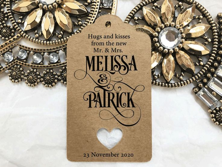 10 Kraft Brown Gift Tags Personalised Wedding Favour Bomboneire Mr & Mrs Hugs  #Unbranded #Wedding #Favours