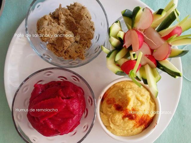 FOOD & CAKES: Surtido de dips: de remolacha, de sardinas y de ga...