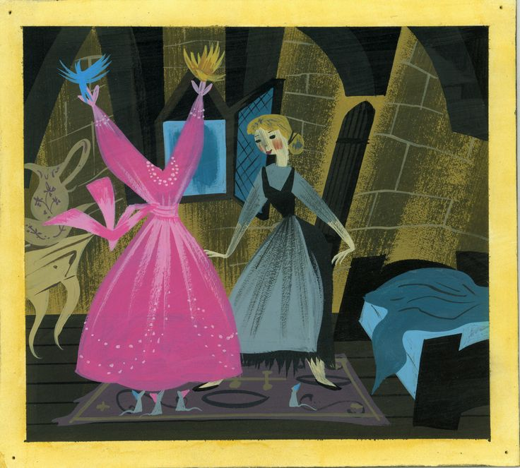 Mary Blair, Concept art of birds and mice showing Cinderella her gown, ca. 1950; gouache; 7.5 in. x 8.25 in. (19.05 cm x 20.96 cm); Walt Disney Family Foundation, Gift of Ron and Diane Miller; © Disney