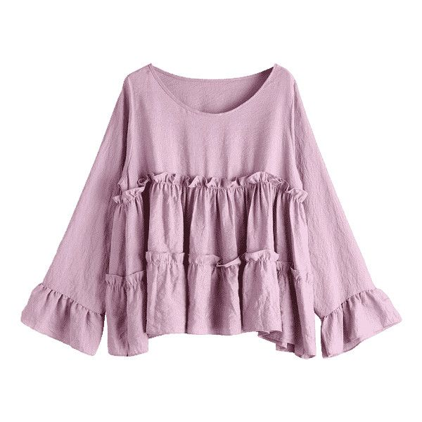 Smocked Ruffles Long Sleeve Blouse Smashing (€18) ❤ liked on Polyvore featuring tops, blouses, long sleeve blouse, ruffle long sleeve top, flounce blouse, purple long sleeve top and purple long sleeve blouse