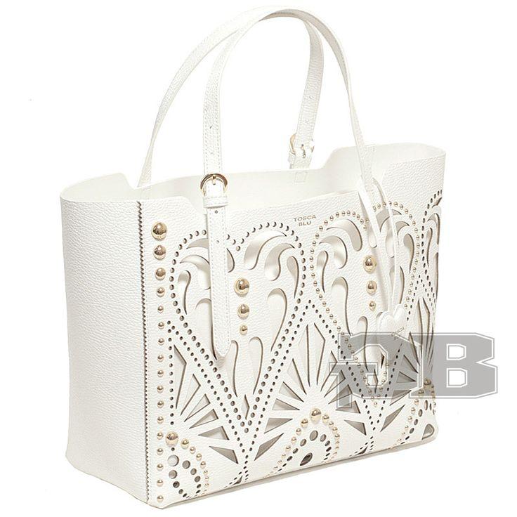 Покупайте Большая сумка-шоппер с ажурной перфорацией и заклепками TS159B140 Белый от Tosca Blu | Glad Bags