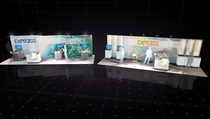 Highlight your brand with these striking 10' x 30' exhibits that allow you to fully EXPRESS your visuals, brand and messaging. The left option gives you five workstations, two meeting areas AND a welcome counter while the right option's  30 foot back wall is a literal billboard for your brand.