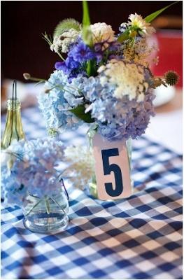 blue gingham wedding centerpiece
