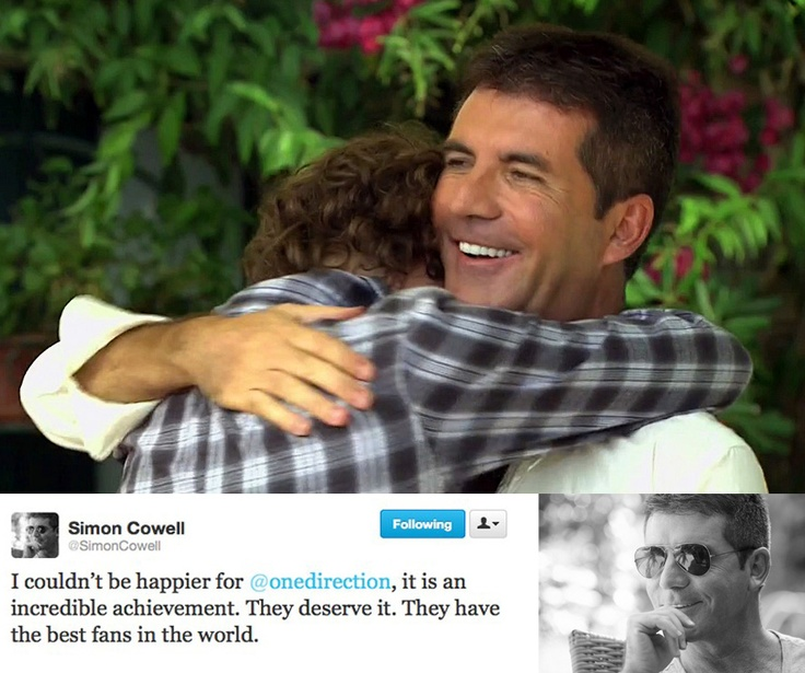 "Simon tweets his congratulations to One Direction.! Awh he called us ""the best fans in the world"" :)"