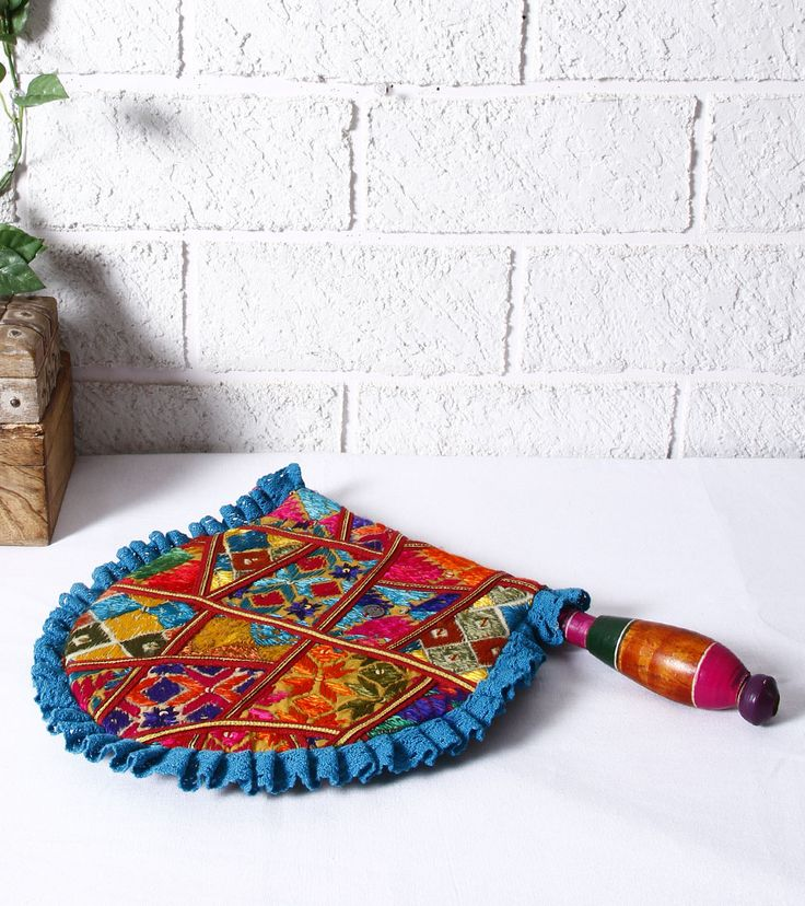 Multicoloured Cotton & Crepe Phulkari Hand Fan Pinned by Sujayita