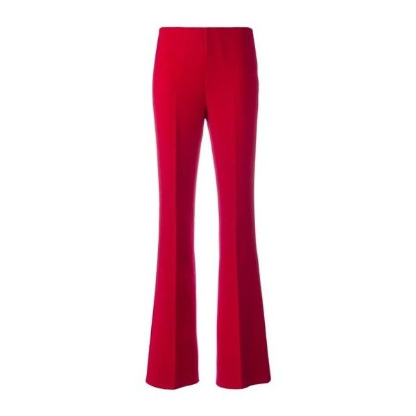 THEORY Pleated Flared Trousers (28.915 RUB) via Polyvore featuring pants, red, flared pants, flare trousers, red trousers, red flare pants и red pants