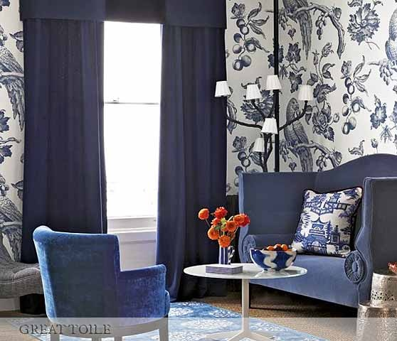 """Bennison """"Great Toile"""" paper indigo on an oyster ground is a contemporary take on traditional Toiles de Jouy, enlarged from the original English Toile  in our collection."""