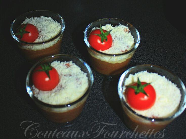 Verrines de #tomates et #courgettes au #cumin