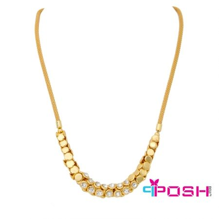 """Arabella - Necklace  - Fashion necklace - Gold tone snake chain - Interlocking metal and clear stone chain - Lobster closure with 1.57"""" extender - Dimension: 19.69"""" length  POSH by FERI - Passion for Fashion - Luxury fashion jewelry for the designer in you. #networking #direct #sales #fashion #designer  #brand #onlineshopping #workingfromhome #necklace #accesories"""