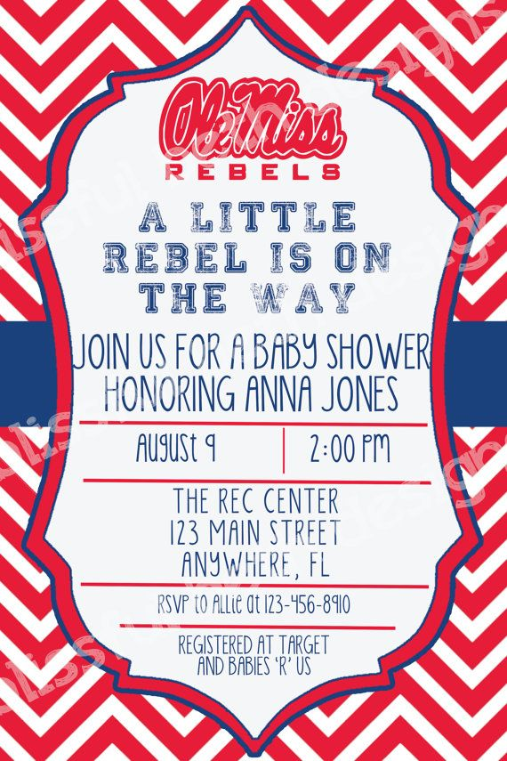 Ole Miss Baby Shower Rebels Baby Shower by BlissfulBethDesigns