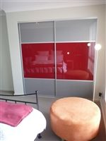 Sliding Wardrobe Doors with Silver and Cherry. The Trio Centre