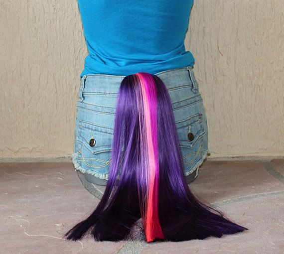 Twilight Sparkle pony tail - clip on costume cosplay - my little pony costume - friendship is magic