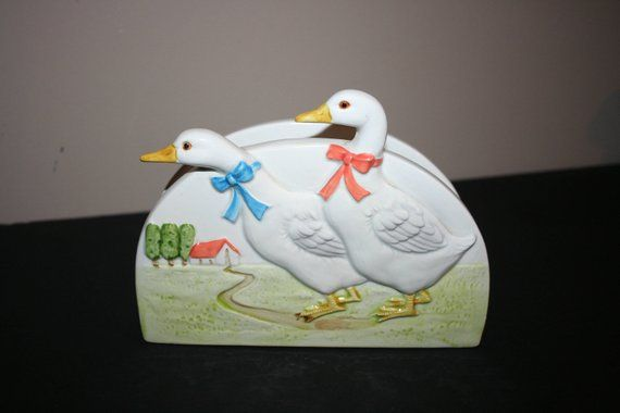 Vintage Napkin Holder, Otagiri 1983, Geese Napkin Holder, Hand Painted Country Geese Napkin Holder