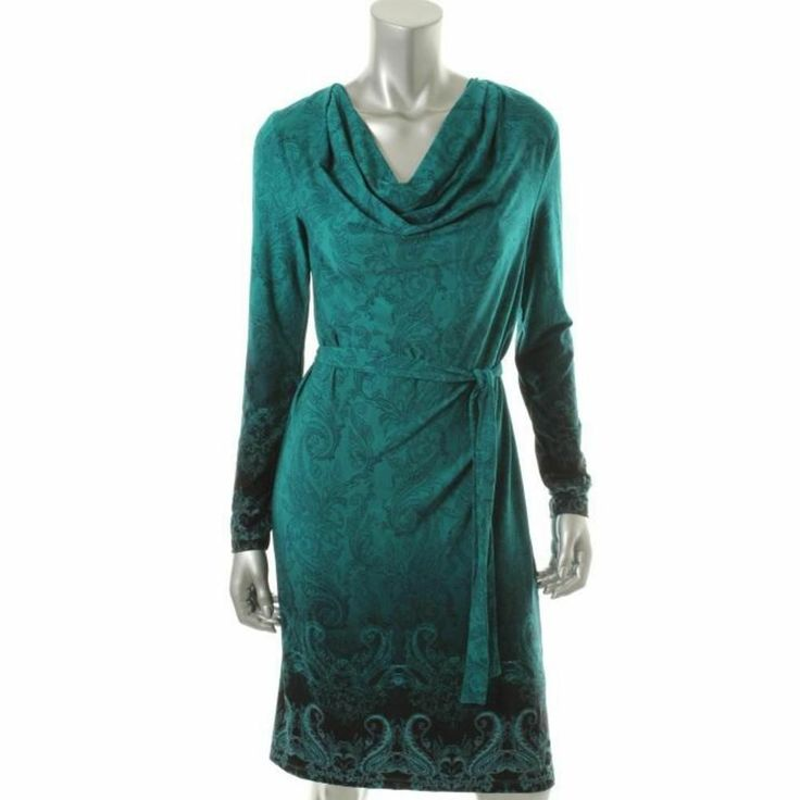 Jones New York Teal Frost Printed Dress, Large, $34.50CAD + shipping (Reg. $89.00) http://stylenstuff.ca/products/jones-new-york-green-printed-dress-large