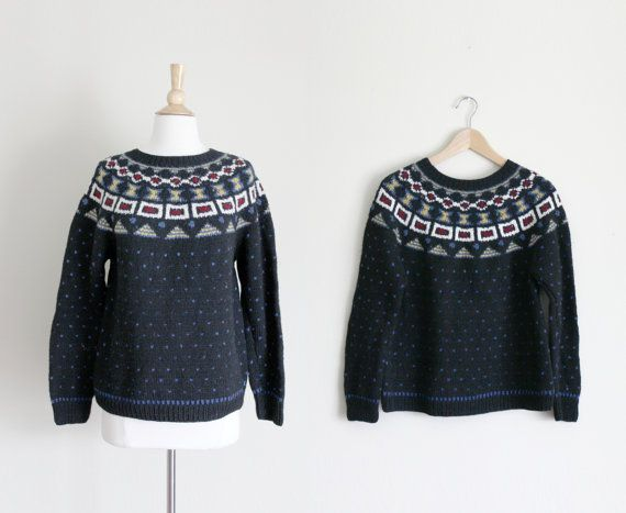 1980s Black Aztec Knit Sweater // Small by apotheosisvintage