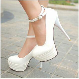 Высокие Каблуки Женская Обувь Белые Свадебные Туфли Сексуальные Ультра Высокие Каблуки Ночной Клуб Женщина Платформы Каблуки Большой Размер 42