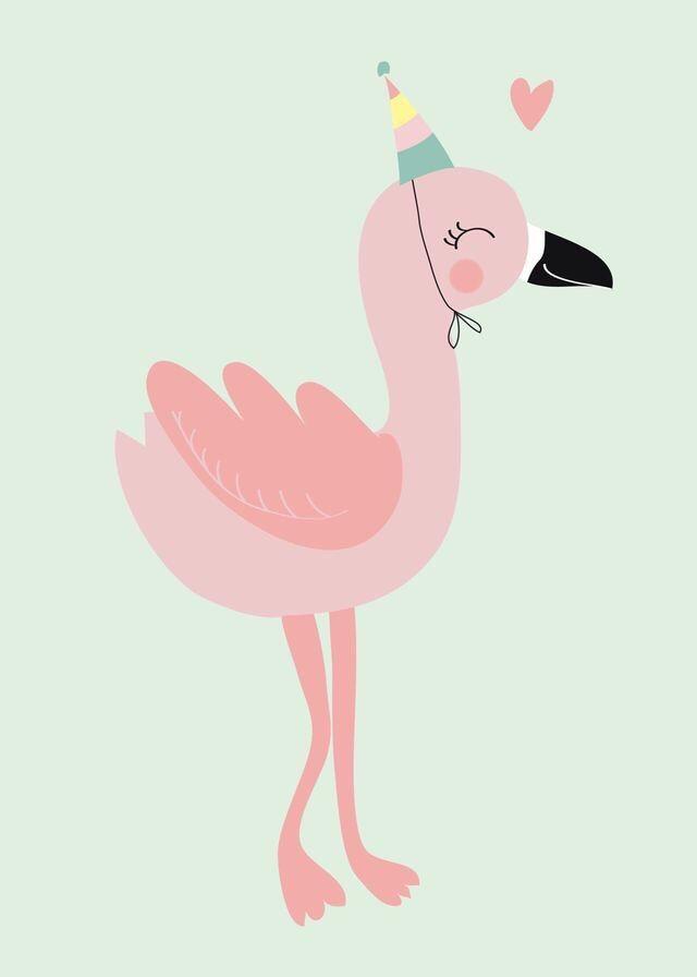 Картинки фламинго для срисовки мультяшки