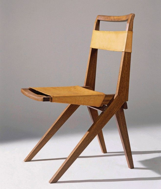 Lina Bo Bardi Wood And Leather Folding Chair . Decoration