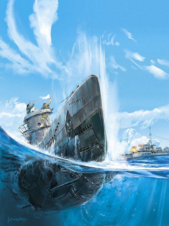 Obra de Julien Lepelletier mostrándonos los últimos momentos del U-203, que realizó once patrullas durante las cuales hundió 21 barcos con un total de 94.000 t, hasta que fue cazado el 25 de Abril de 1943 por aviones embarcados y el destructor HMS Pathfinder, falleciendo diez de sus tripulantes y siendo rescatados otros 38.