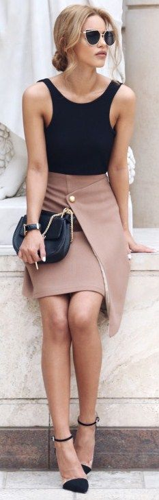 Ribbed Racer Bodysuit - Missguided , Button Wrap Skirt - Few Moda I Fashion…