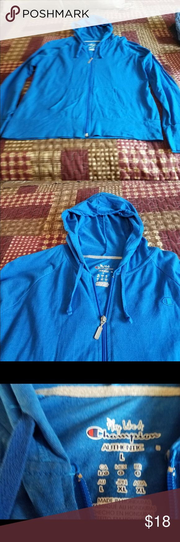Blue zip up hoodie Blue zip up hoodie with a hood stretchy soft comfortable material it's in great condition Tops Sweatshirts & Hoodies