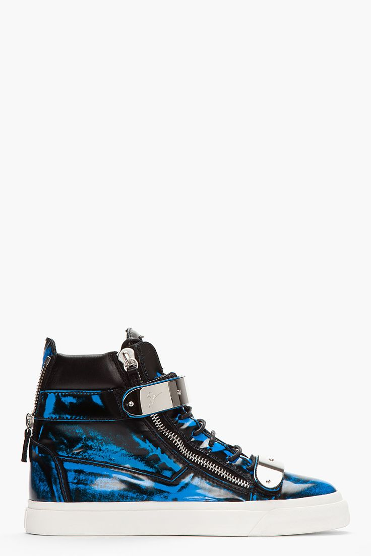 GIUSEPPE ZANOTTI Blue Brushed Leather Zippered High-Top Sneakers