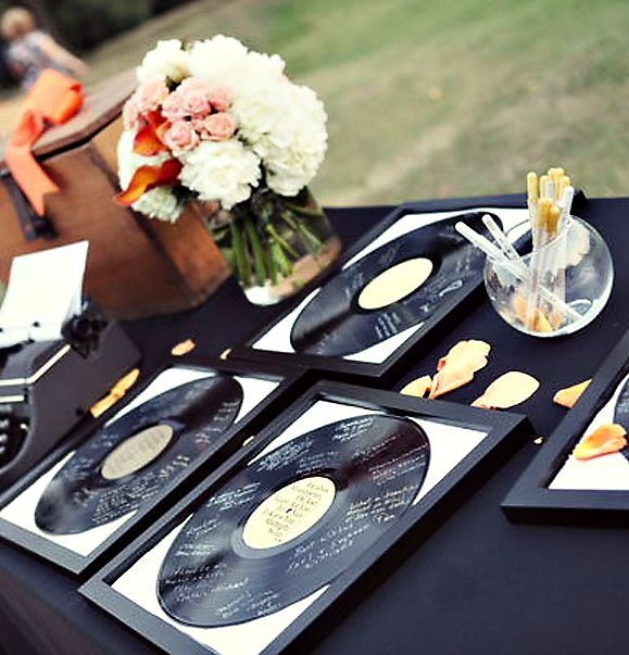 vinyl records, an alternative to a guest book. #wedding. Good for scratched records.