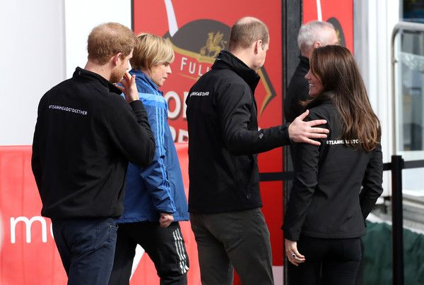 Prince Harry, Prince William, Duke of Cambridge and Catherine, Duchess of Cambridge after cheering on runners at the start of the 2017 Virgin Money London Marathon on April 23, 2017 in London, England.  The Royals are spearheading Heads Together, in partnership with eight leading mental health charities, that are tackling stigma, raising awareness, and providing vital help for people with mental health problems.