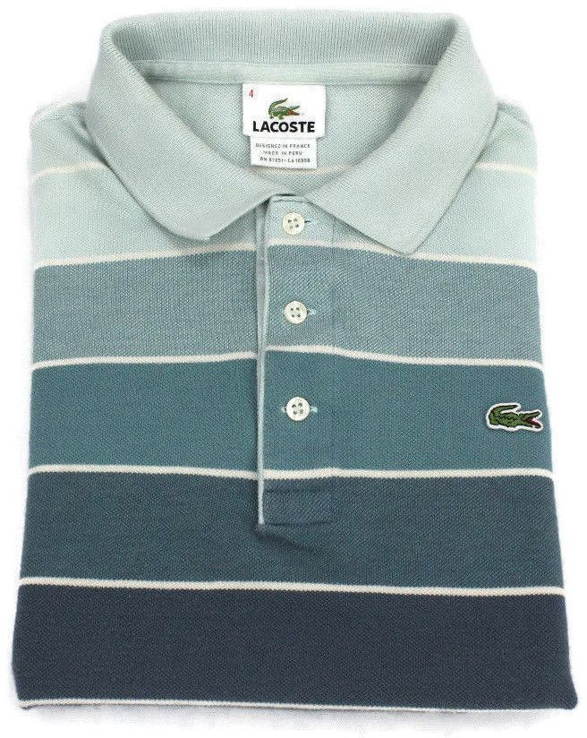 Lacoste Polo Shirt S Small Size 4 Mens Short Sleeve Pique Golf Cotton Striped Sz #Lacoste #PoloRugby