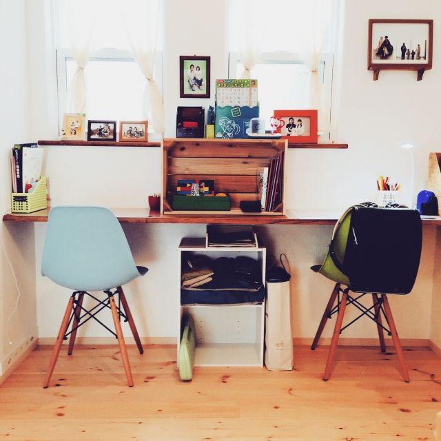 yayaさんの、イームズ,イームズチェア,DIY,学習机,リビング,のお部屋写真