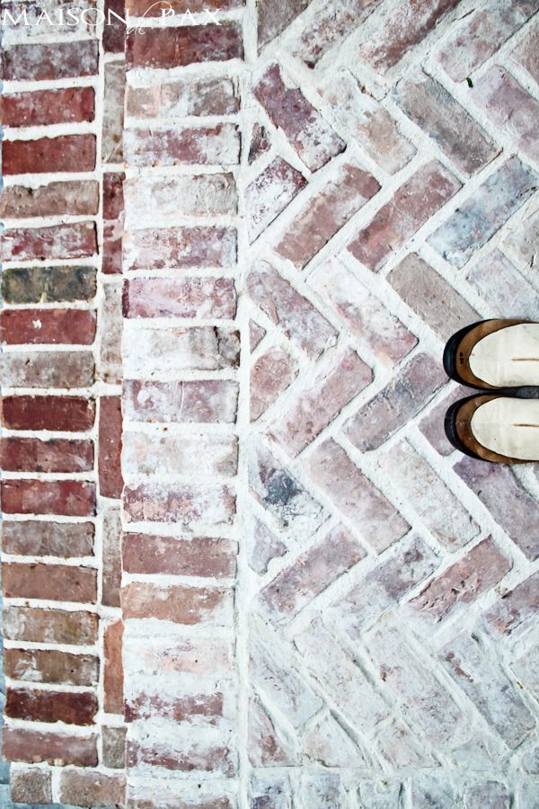 love this herringbone porch! stamped concrete and antiqued brick patio | maisondepax.com
