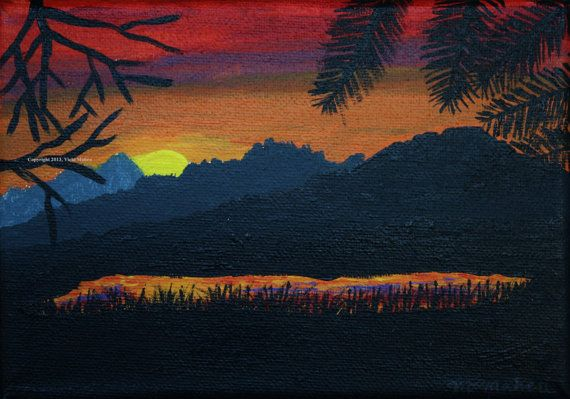 Wall Art // Sunset Painting // Landscape // by ArdentReflections, $28.00