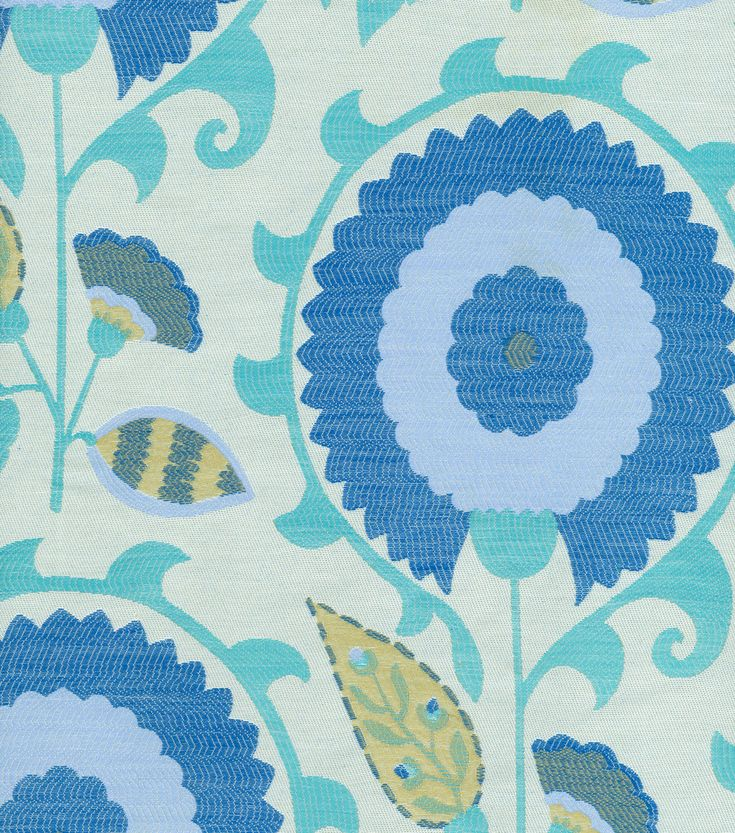 Upholstery Fabric-Waverly Flor Feliz Azure