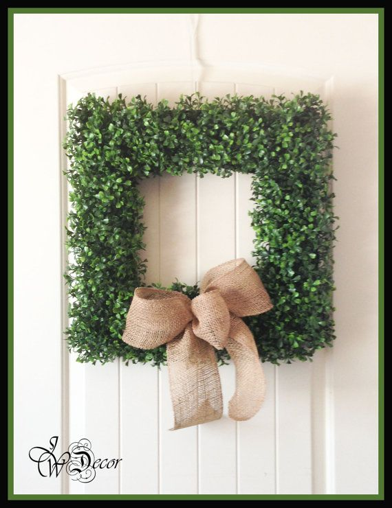 Square Wire Boxwood Wreaths - Artificial Boxwood - Wreaths - Year Round Wreaths - Burlap Ribbon - Front Door Wreath