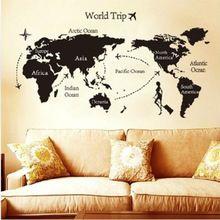 dünya gezisi harita çıkarılabilir vinil teklif sanat diy duvar sticker etiket duvar oda dekor(China (Mainland))