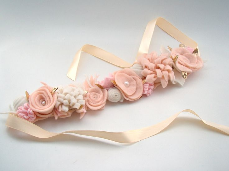 Boho Flower Crown Ligh Pink Nude and Cream Felt by VictoriasClass