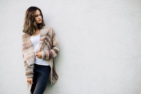 Hipster sweater,  Women's sweater, Beige sweater, Fall fashion,Cardigan women's,  Chunky winter knitwear,  Hand knit sweater, Ready to ship