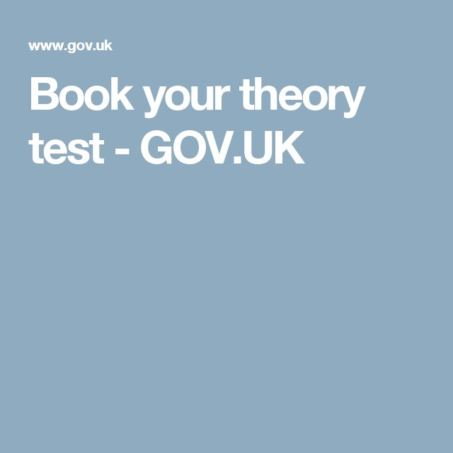 Book your theory test - GOV.UK