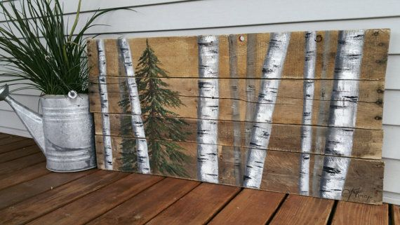 Reclaimed pallet art, Distressed, Evergreen tree, Hand painted White Birch, upcycled rustic & shabby chic  Original Acrylic painting on
