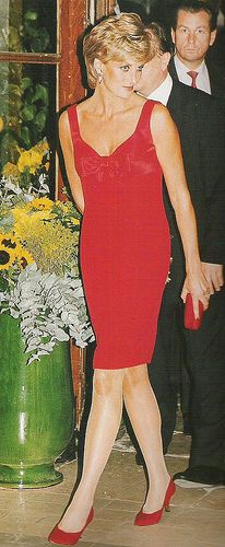 Princess Diana In A Lovely Cocktail Dress With A Matching Clutch And Shoes.