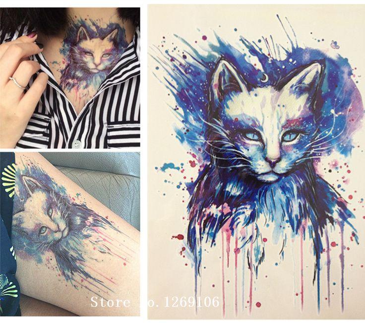 아름다운 블루 고양이 고품질 데칼 바디 아트 데칼 방수 종이 21x15 센치메터 #30
