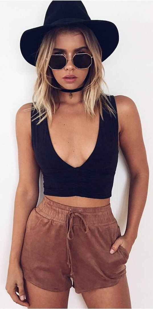 #spring #outfits Black Kendall Suede Crop + Brown Z Boy Suede Shorts + Black Hat