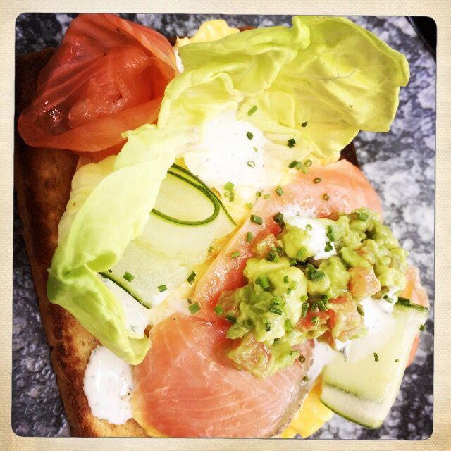Salmon on toast at Symmetry cafe, Bugis